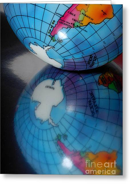 Planet Map Greeting Cards - Reflected Globe Greeting Card by Amy Cicconi