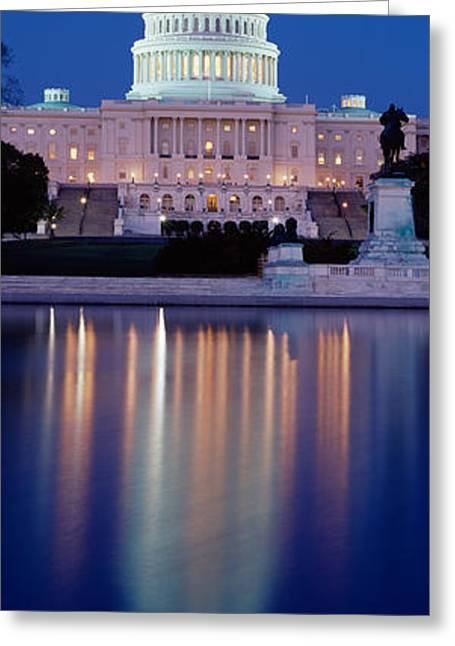 Legislation Greeting Cards - Reflection Of A Government Building Greeting Card by Panoramic Images