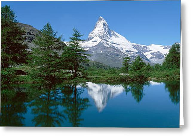 Swiss Photographs Greeting Cards - Reflection Of A Mountain In A Lake Greeting Card by Panoramic Images
