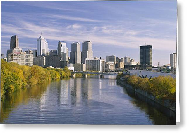 Schuylkill Greeting Cards - Reflection Of Buildings In Water Greeting Card by Panoramic Images