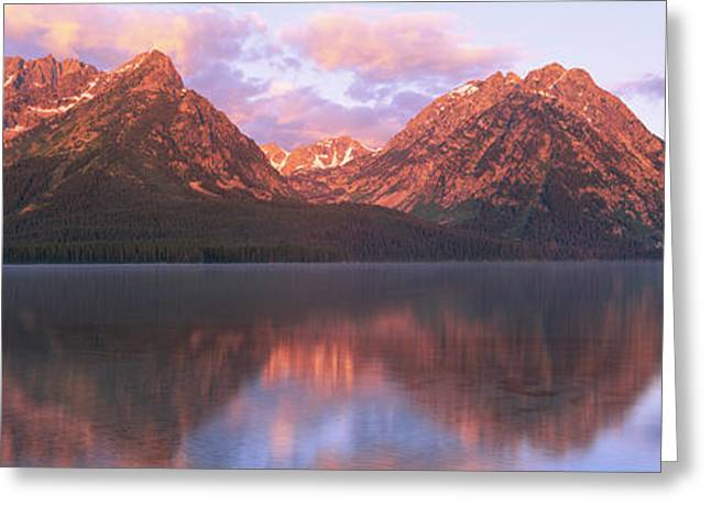 Mountain Greeting Cards - Reflection Of Mountains In A Lake Greeting Card by Panoramic Images