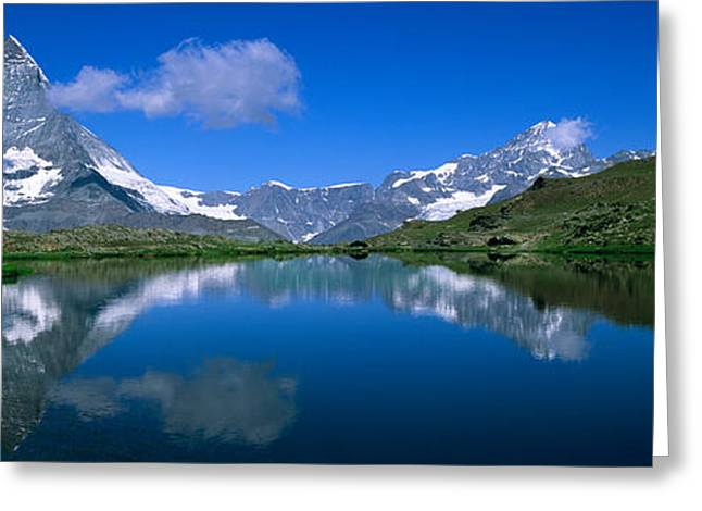 Reflections In River Greeting Cards - Reflection Of Mountains In Water Greeting Card by Panoramic Images