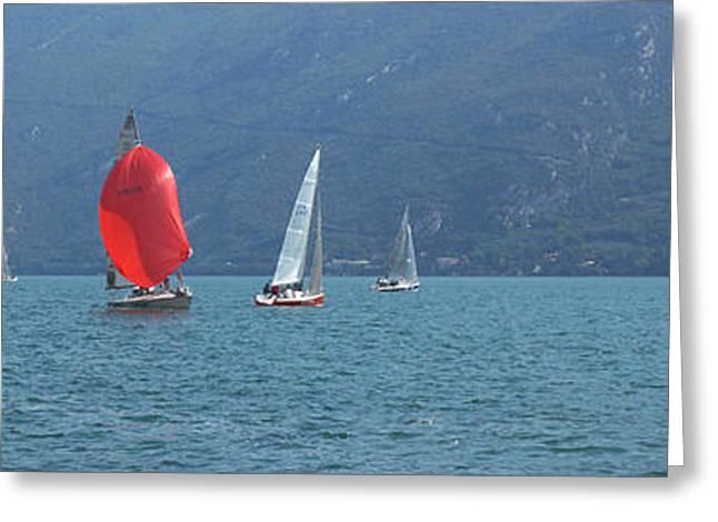 Sailboats In Water Greeting Cards - Regatta  Greeting Card by Khromykh Natalia