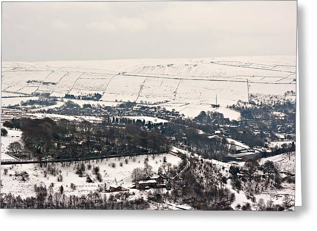 Harsh Conditions Photographs Greeting Cards - Remote farmland on the snow covered Yorkshire moors Greeting Card by Ken Biggs