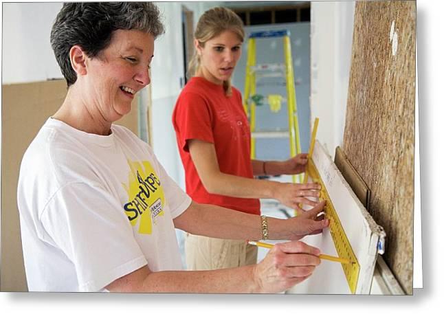 Repairing Hurricane Katrina Damage Greeting Card by Jim West