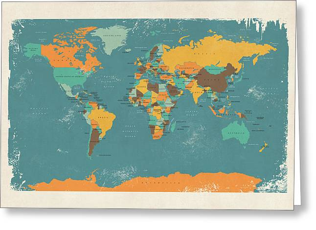 Cartography Digital Art Greeting Cards - Retro Political Map of the World Greeting Card by Michael Tompsett