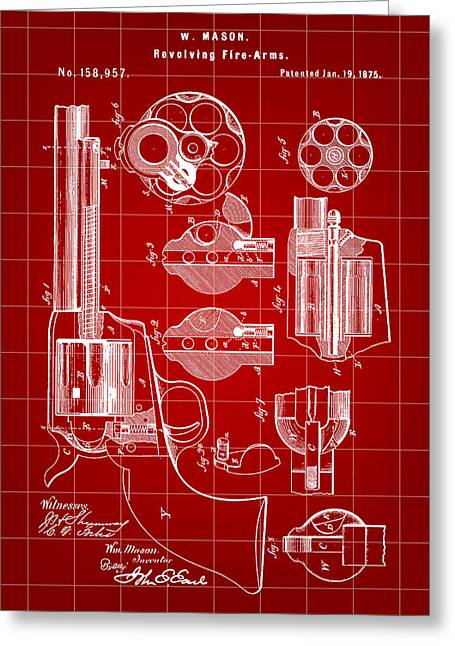 Marksman Greeting Cards - Revolving Fire Arm Patent 1875 - Red Greeting Card by Stephen Younts