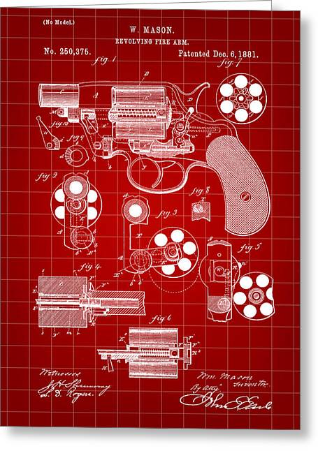 Marksman Greeting Cards - Revolving Fire Arm Patent 1881 - Red Greeting Card by Stephen Younts