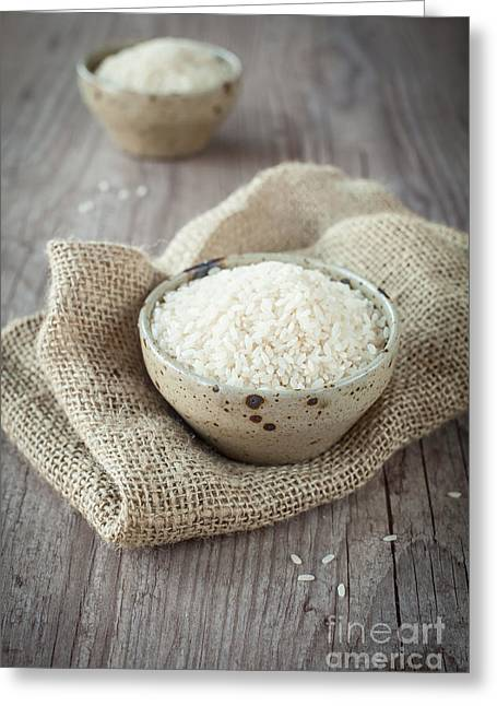 Wooden Bowl Greeting Cards - Rice Greeting Card by Sabino Parente