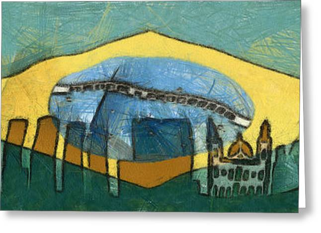 Champs Mixed Media Greeting Cards - Rio de Janeiro skyline Greeting Card by Michal Boubin