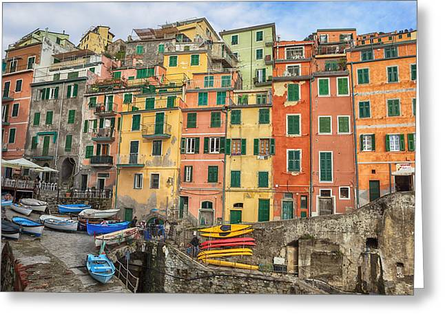 Port Town Greeting Cards - Riomaggiore Greeting Card by Joana Kruse