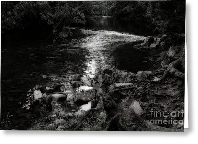 Garden Scene Digital Art Greeting Cards - River Through Wales Greeting Card by Michael Braham