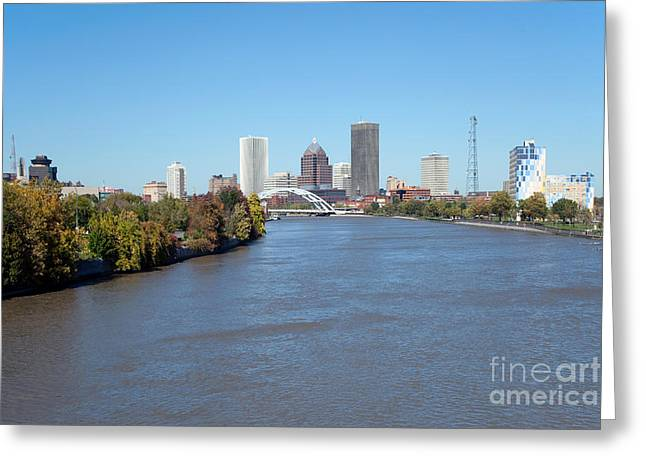 Xerox Greeting Cards - Rochester New York Skyline Greeting Card by Bill Cobb