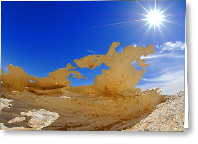Sahara Sunlight Greeting Cards - Rock formations, Egypts White Desert Greeting Card by Science Photo Library