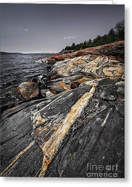 Huron Coast Greeting Cards - Rocks at Georgian Bay Greeting Card by Elena Elisseeva