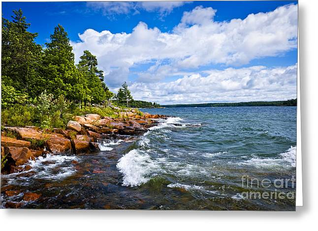 Huron Coast Greeting Cards - Rocky shore of Georgian Bay Greeting Card by Elena Elisseeva