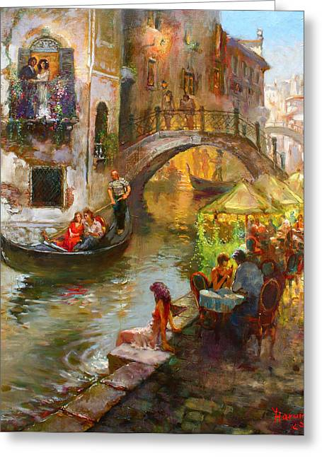Gondolier Greeting Cards - Romance in Venice  Greeting Card by Ylli Haruni