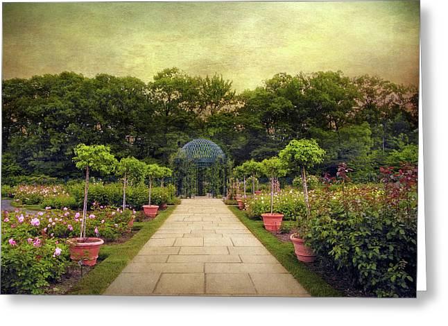 Botanical Digital Greeting Cards - Rose Garden Gazebo Greeting Card by Jessica Jenney