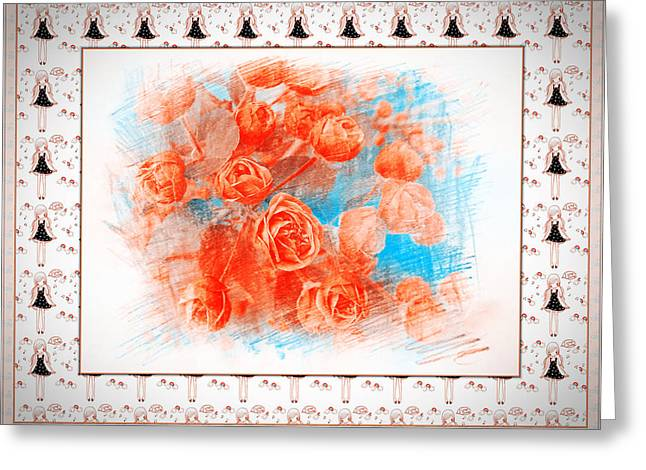 Bedroom Art Greeting Cards - The Orange Roses Greeting Card by Xueyin Chen