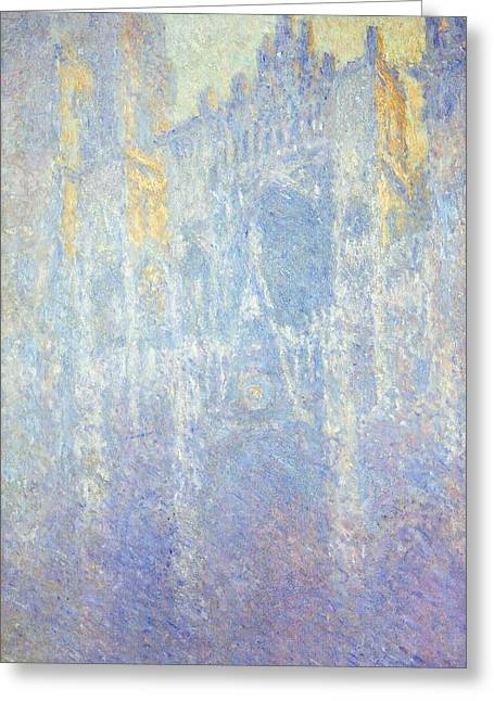 France 1874-1886 Greeting Cards - Rouen Cathedral Greeting Card by Claude Monet