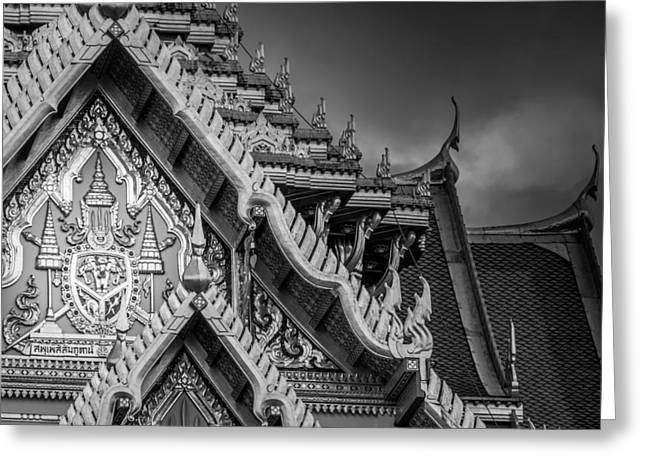 Asien Photographs Greeting Cards - Royal Coat of Arms on the Grand Palace in Bangkok Thailand Greeting Card by Colin Utz