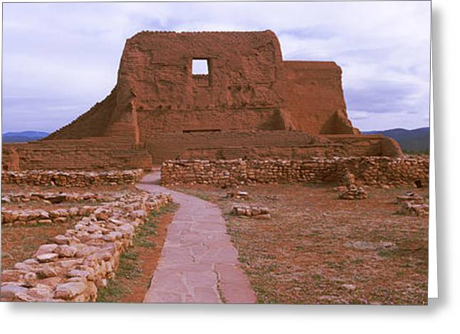 Overcast Day Greeting Cards - Ruins Of The Pecos Pueblo Mission Greeting Card by Panoramic Images