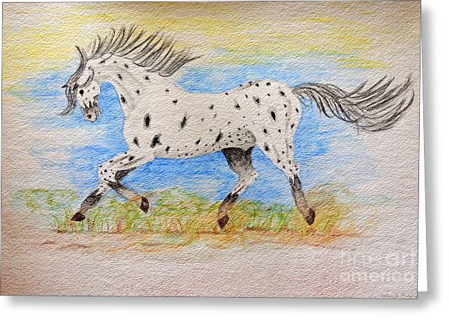 Leopard Running Greeting Cards - Running Free Greeting Card by Debbie Portwood