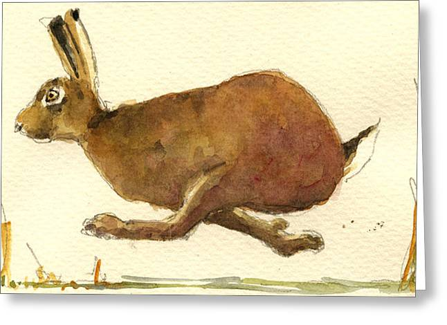 Hare Greeting Cards - Running hare Greeting Card by Juan  Bosco