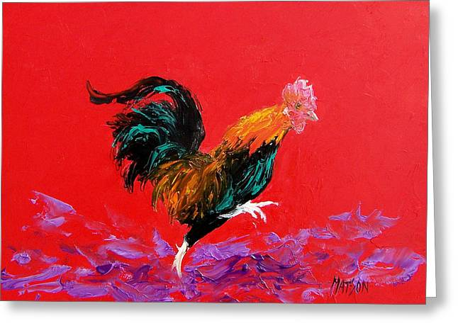 Butchers Decor Greeting Cards - Running Rooster Greeting Card by Jan Matson