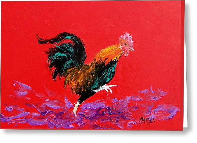 Colorful Rooster Greeting Cards - Running Rooster Greeting Card by Jan Matson