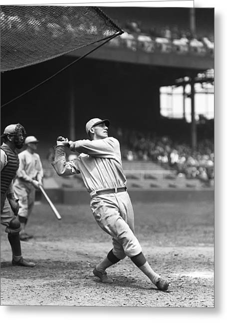 Baseball Game Greeting Cards - Russell G. Russ Wrightstone Greeting Card by Retro Images Archive