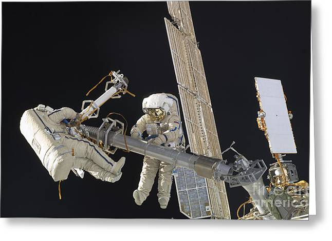 Travel Agency Greeting Cards - Russian Cosmonauts Working Greeting Card by Stocktrek Images