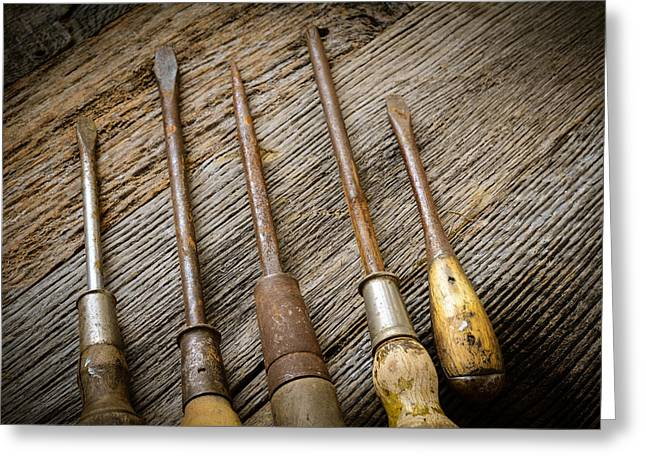 Tighten Greeting Cards - Rustic Screwdrivers on Wood Background Greeting Card by Brandon Bourdages
