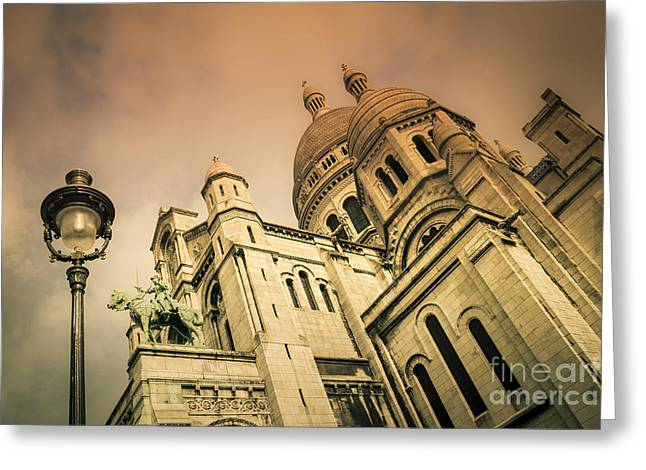 White Marble Greeting Cards - Sacre Coeur Greeting Card by Brian Jannsen