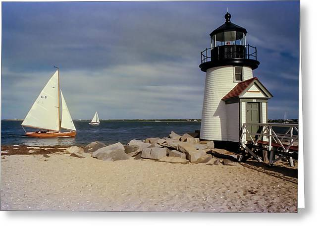 Recently Sold -  - New England Ocean Greeting Cards - Sailing Across Brant Point Nantucket Greeting Card by WEB Shooter