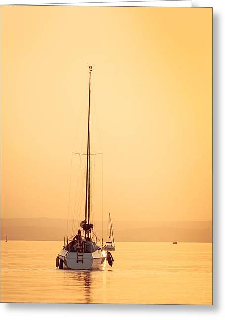 Ocean Sailing Pyrography Greeting Cards - Sailing boats with a beautiful sunset Greeting Card by Oliver Sved