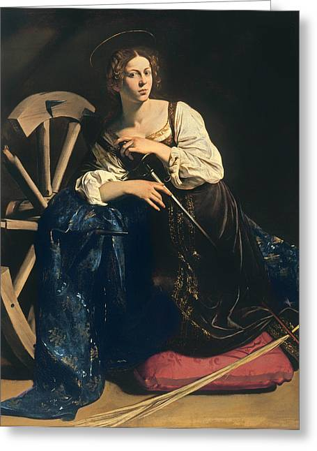 Catherine Wheel Greeting Cards - Saint Catherine of Alexandria Greeting Card by Caravaggio