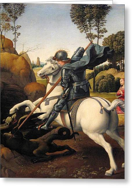 Saint George Greeting Cards - Saint George and the Dragon Greeting Card by Raphael