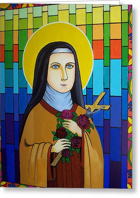 Stainglass Greeting Cards - Saint Teresa of Avila Greeting Card by Don Parker