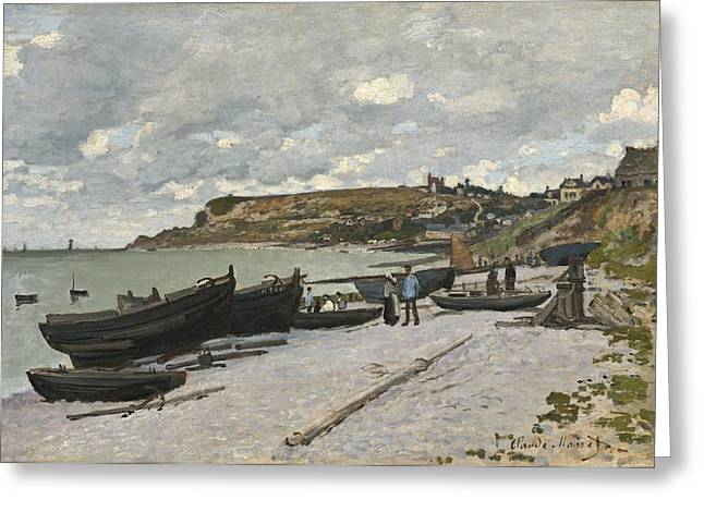 Boats On Water Greeting Cards - Sainte Adresse Greeting Card by Claude Monet