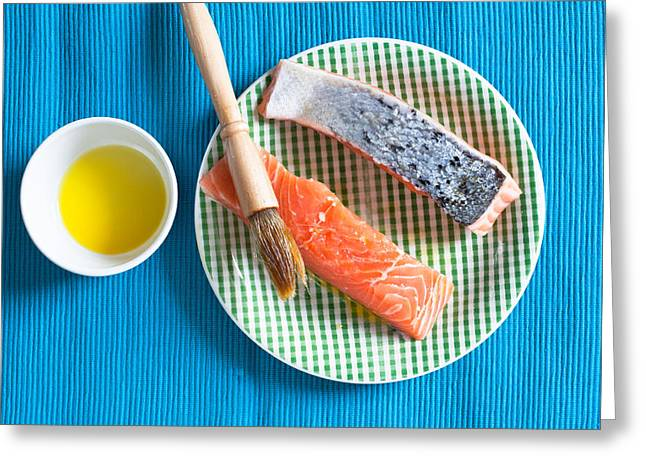 Olive Oil Photographs Greeting Cards - Salmon fillets Greeting Card by Tom Gowanlock
