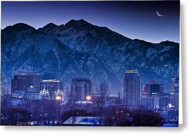 Snowy Night Night Greeting Cards - Salt Lake City Utah Skyline Greeting Card by Utah Images