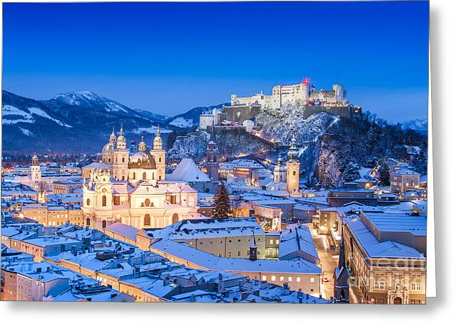 Wolfgang Greeting Cards - Salzburg in winter Greeting Card by JR Photography