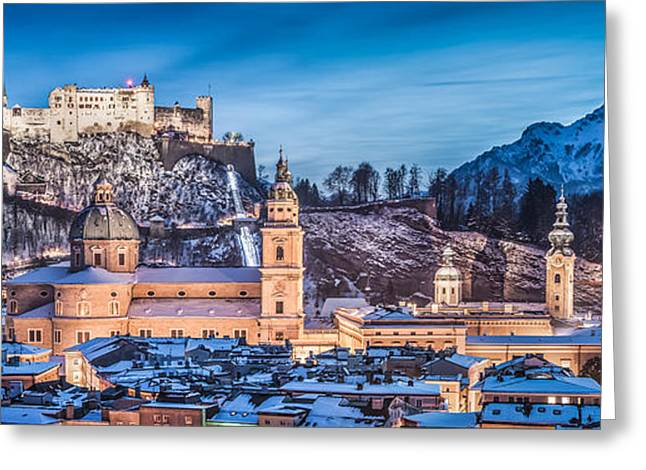 Winter Night Greeting Cards - Salzburg winter romance Greeting Card by JR Photography