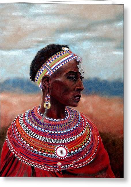 Africa Pastels Greeting Cards - Samburu Woman Greeting Card by Carol McCarty