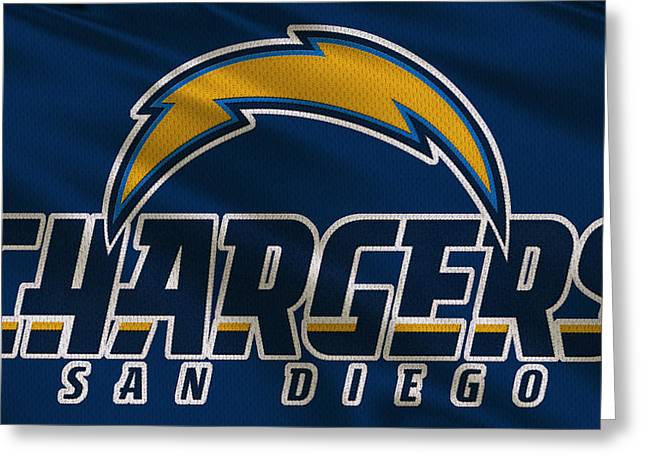 San Diego Chargers Greeting Cards - San Diego Chargers Uniform Greeting Card by Joe Hamilton