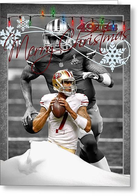 Colin Kaepernick Greeting Cards - San Francisco 49ers Christmas Card Greeting Card by Joe Hamilton