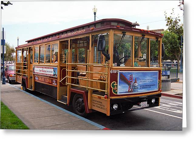 Wooden Train Print Greeting Cards - San Francisco Cable Car Greeting Card by Frank Romeo