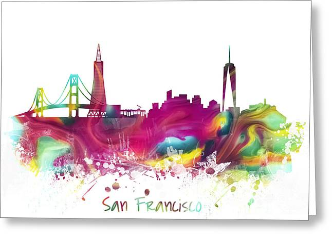 Downtown San Francisco Greeting Cards - San Francisco City Skyline Greeting Card by Justyna JBJart