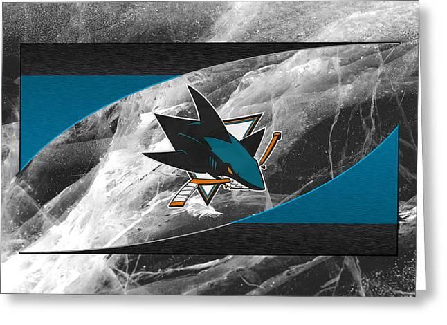 San Jose Greeting Cards - San Jose Sharks Greeting Card by Joe Hamilton